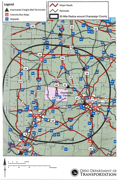 Champaign County Intermodal Transportation Map